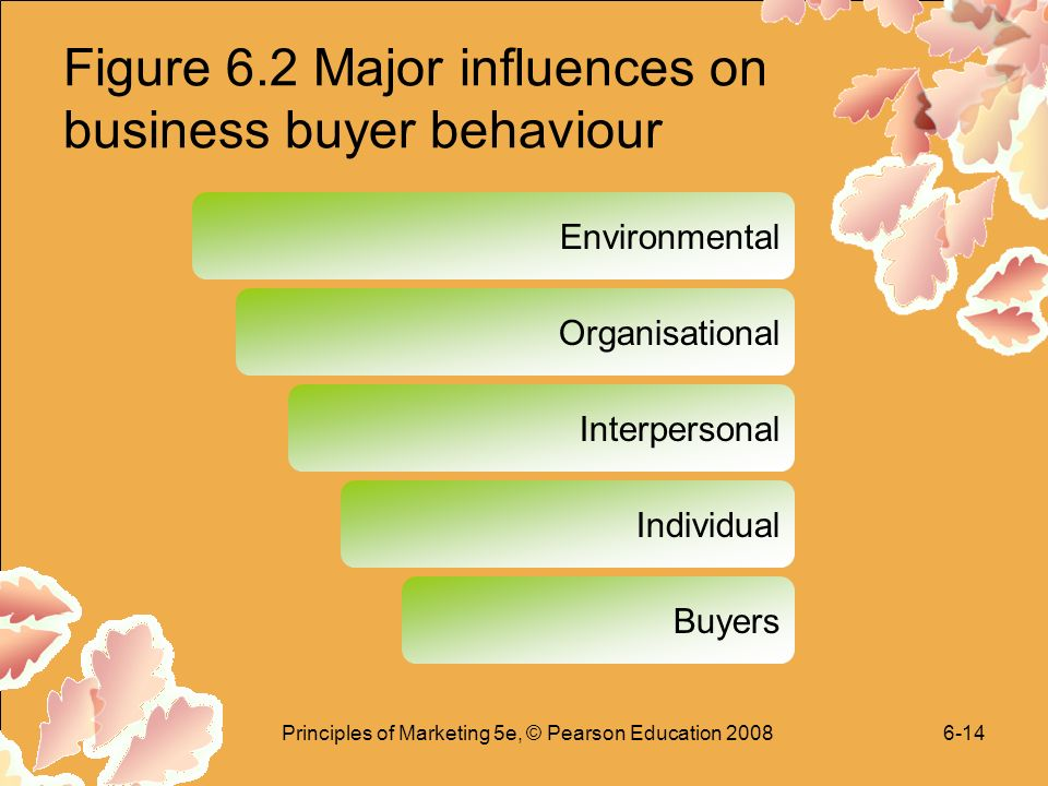 Principles of Marketing 5e, © Pearson Education Figure 6.2 Major influences on business buyer behaviour Environmental Organisational Interpersonal Individual Buyers