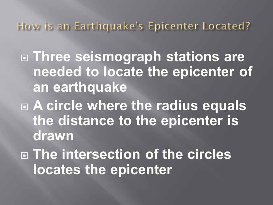  Three seismograph stations are needed to locate the epicenter of an earthquake  A circle where the radius equals the distance to the epicenter is drawn  The intersection of the circles locates the epicenter