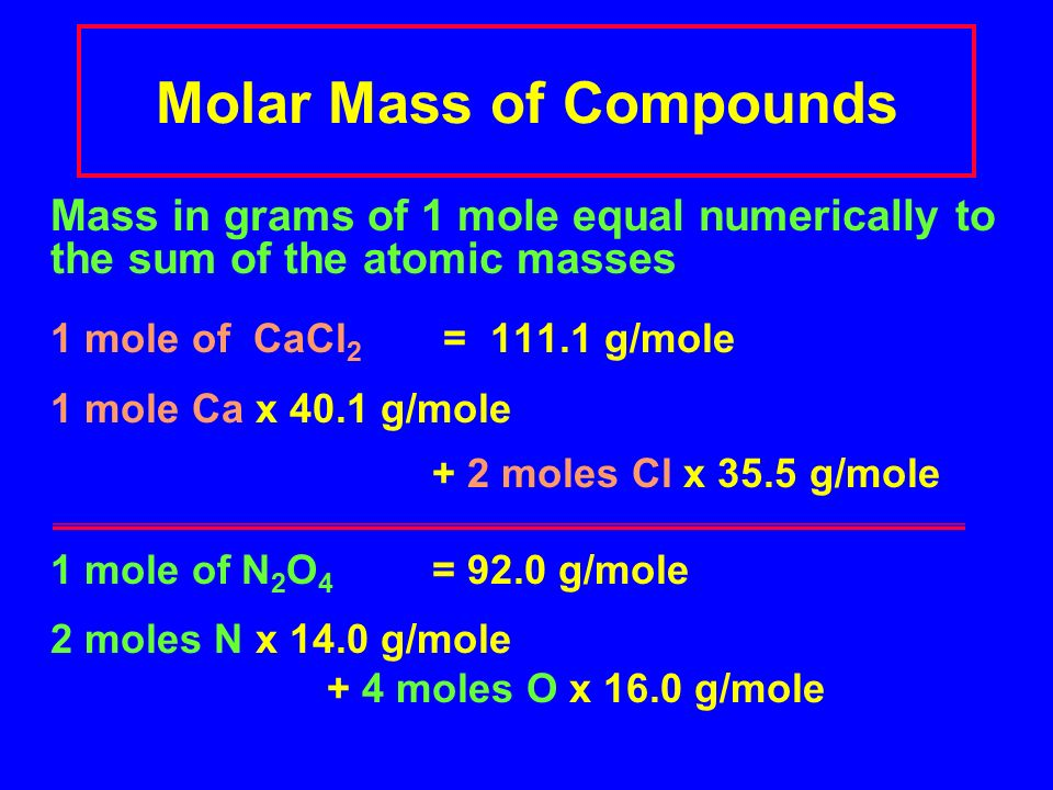 Molar Mass of Compounds Mass in grams of 1 mole equal numerically to the sum of the atomic masses 1 mole of CaCl 2 = g/mole 1 mole Ca x 40.1 g/mole + 2 moles Cl x 35.5 g/mole 1 mole of N 2 O 4 = 92.0 g/mole 2 moles N x 14.0 g/mole + 4 moles O x 16.0 g/mole
