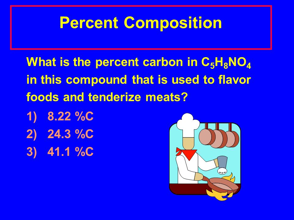 Percent Composition What is the percent carbon in C 5 H 8 NO 4 in this compound that is used to flavor foods and tenderize meats.