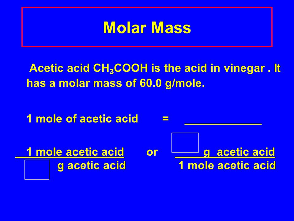 Molar Mass Acetic acid CH 3 COOH is the acid in vinegar.