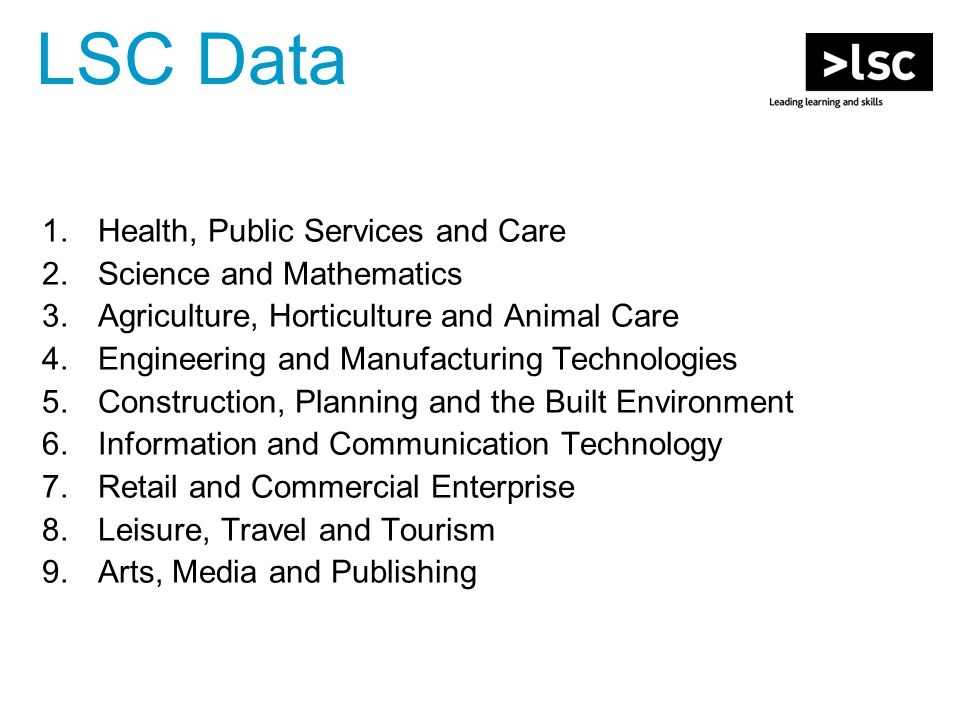 LSC Data 1.Health, Public Services and Care 2.Science and Mathematics 3.Agriculture, Horticulture and Animal Care 4.Engineering and Manufacturing Technologies 5.Construction, Planning and the Built Environment 6.Information and Communication Technology 7.Retail and Commercial Enterprise 8.Leisure, Travel and Tourism 9.Arts, Media and Publishing