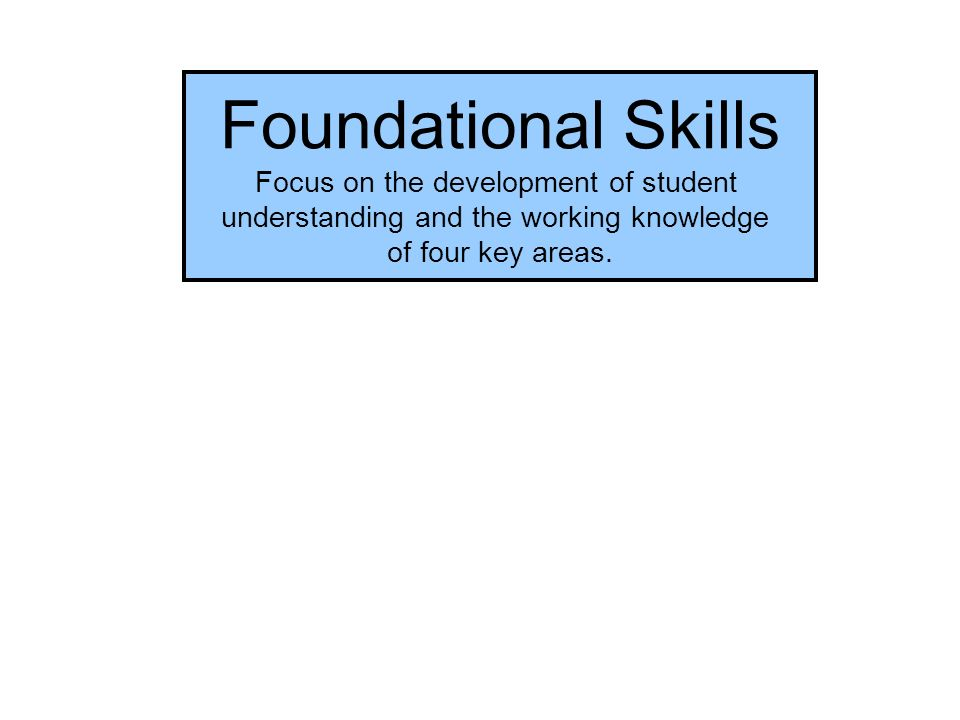 Foundational Skills Focus on the development of student understanding and the working knowledge of four key areas.