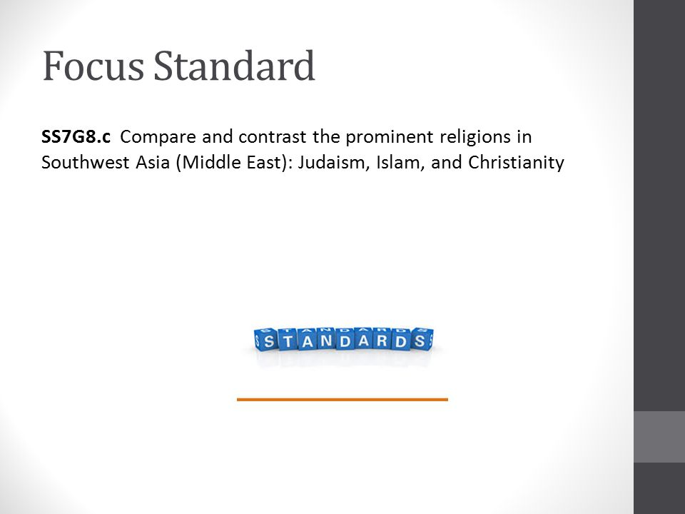 Focus Standard SS7G8.c Compare and contrast the prominent religions in Southwest Asia (Middle East): Judaism, Islam, and Christianity
