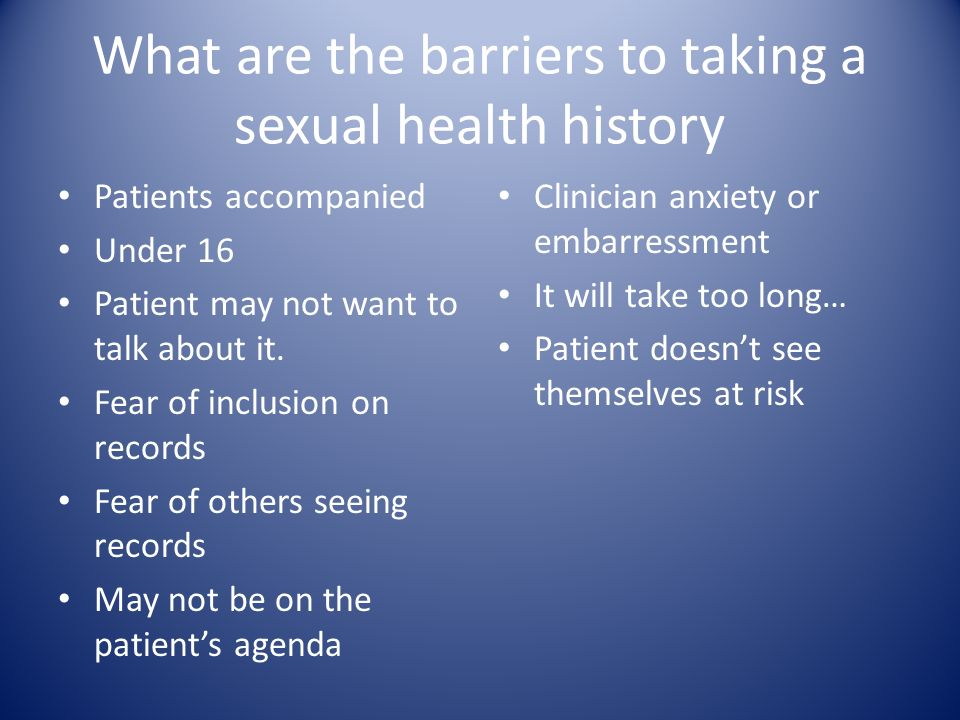 Taking a sexual health history