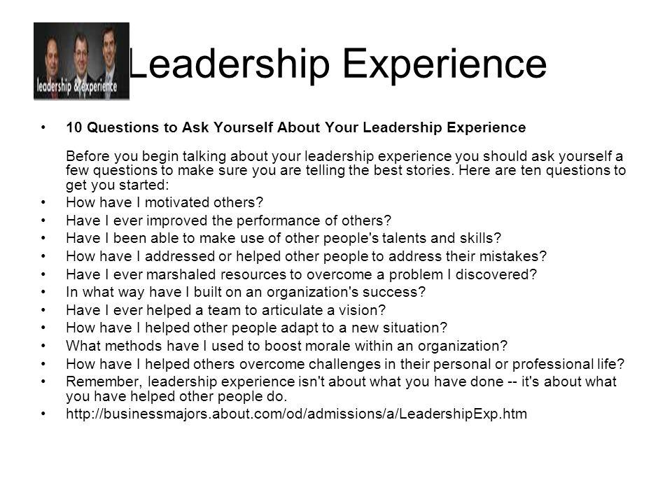15 leadership experience
