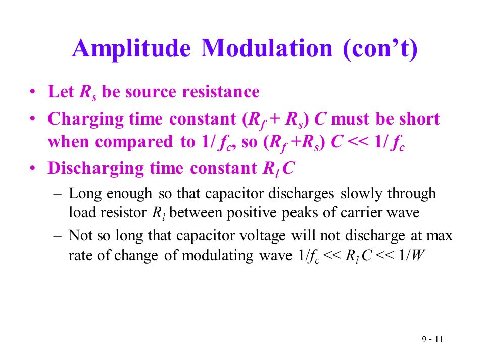 Amplitude Modulation (con't) Let R s be source resistance Charging time constant (R f + R s ) C must be short when compared to 1/ f c, so (R f +R s ) C << 1/ f c Discharging time constant R l C –Long enough so that capacitor discharges slowly through load resistor R l between positive peaks of carrier wave –Not so long that capacitor voltage will not discharge at max rate of change of modulating wave 1/f c << R l C << 1/W