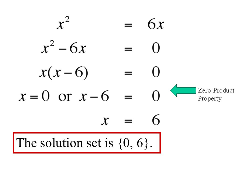 Zero-Product Property The solution set is {0, 6}.