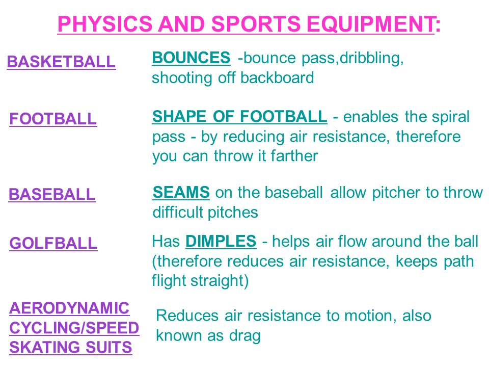 PHYSICS & THE MOTION OF SPORT Sports are jam packed with