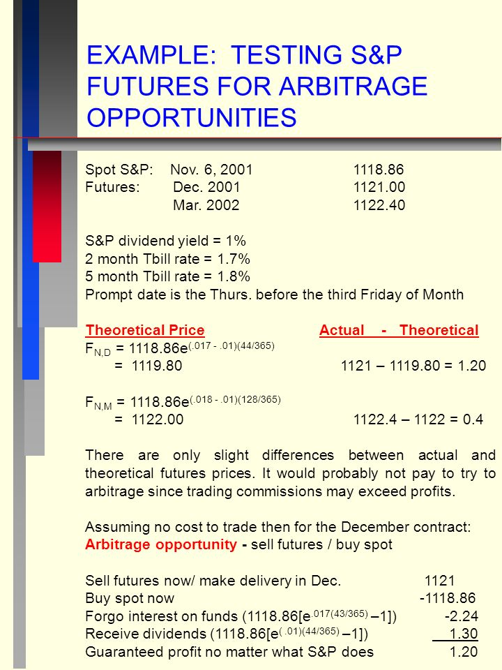 EXAMPLE: TESTING S&P FUTURES FOR ARBITRAGE OPPORTUNITIES Spot S&P: Nov.
