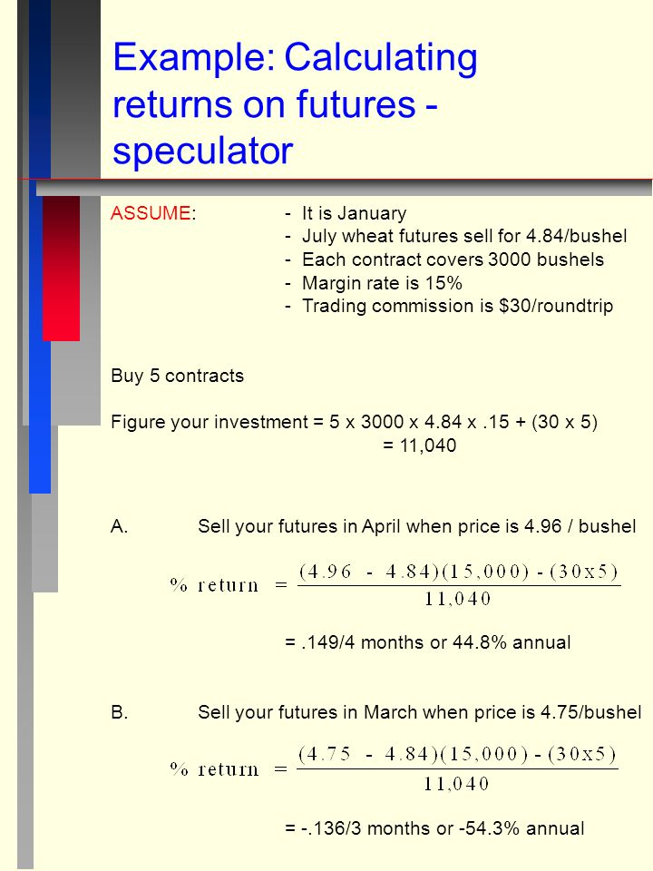 Example: Calculating returns on futures - speculator ASSUME: - It is January - July wheat futures sell for 4.84/bushel - Each contract covers 3000 bushels - Margin rate is 15% - Trading commission is $30/roundtrip Buy 5 contracts Figure your investment = 5 x 3000 x 4.84 x.15 + (30 x 5) = 11,040 A.