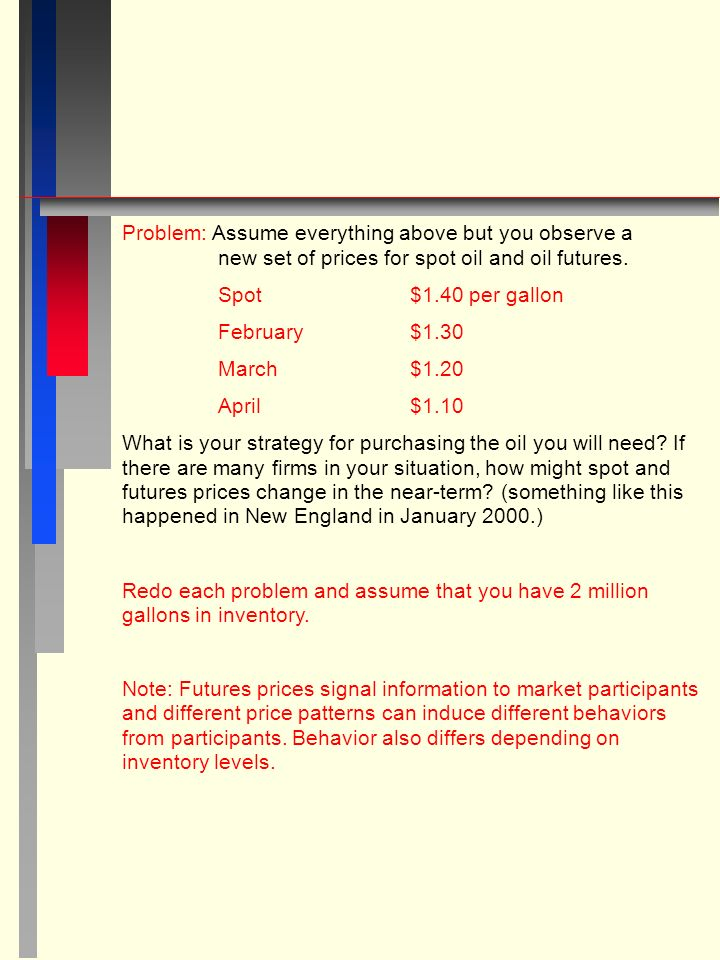 Problem: Assume everything above but you observe a new set of prices for spot oil and oil futures.