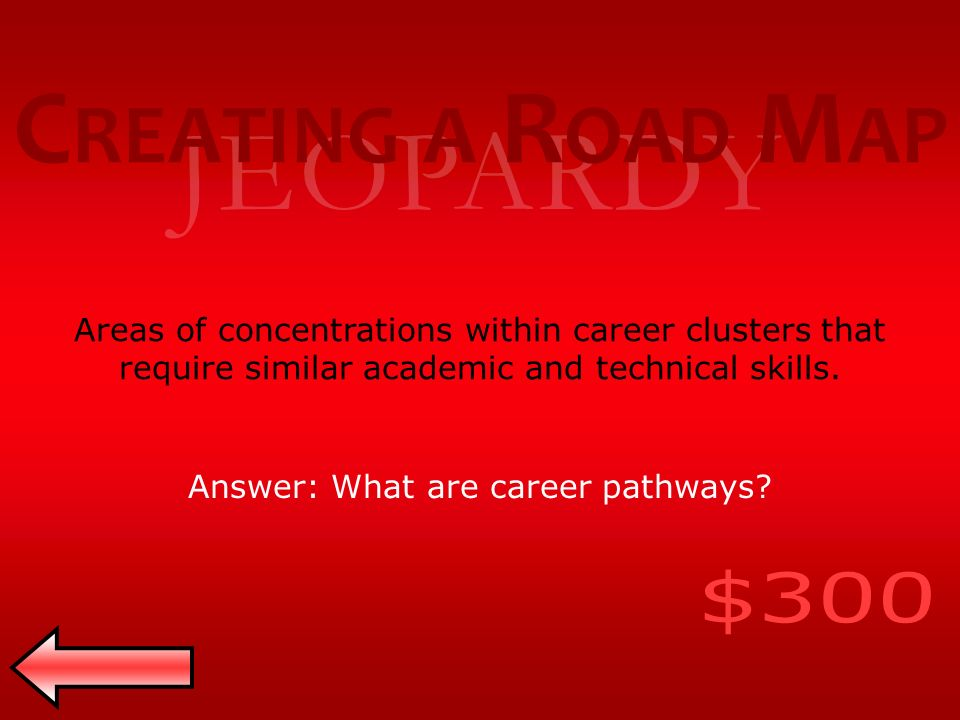 JEOPARDY Areas of concentrations within career clusters that require similar academic and technical skills.
