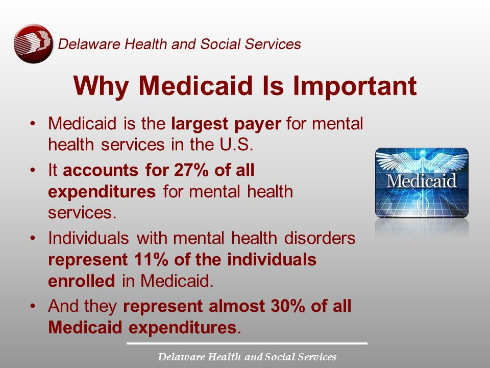 Delaware Health and Social Services Why Medicaid Is Important Medicaid is the largest payer for mental health services in the U.S.