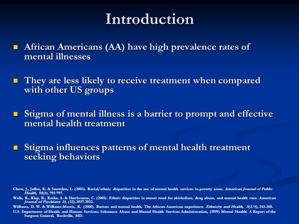 Stigma Of Mental Illness Among Ethnic Minority Populations African