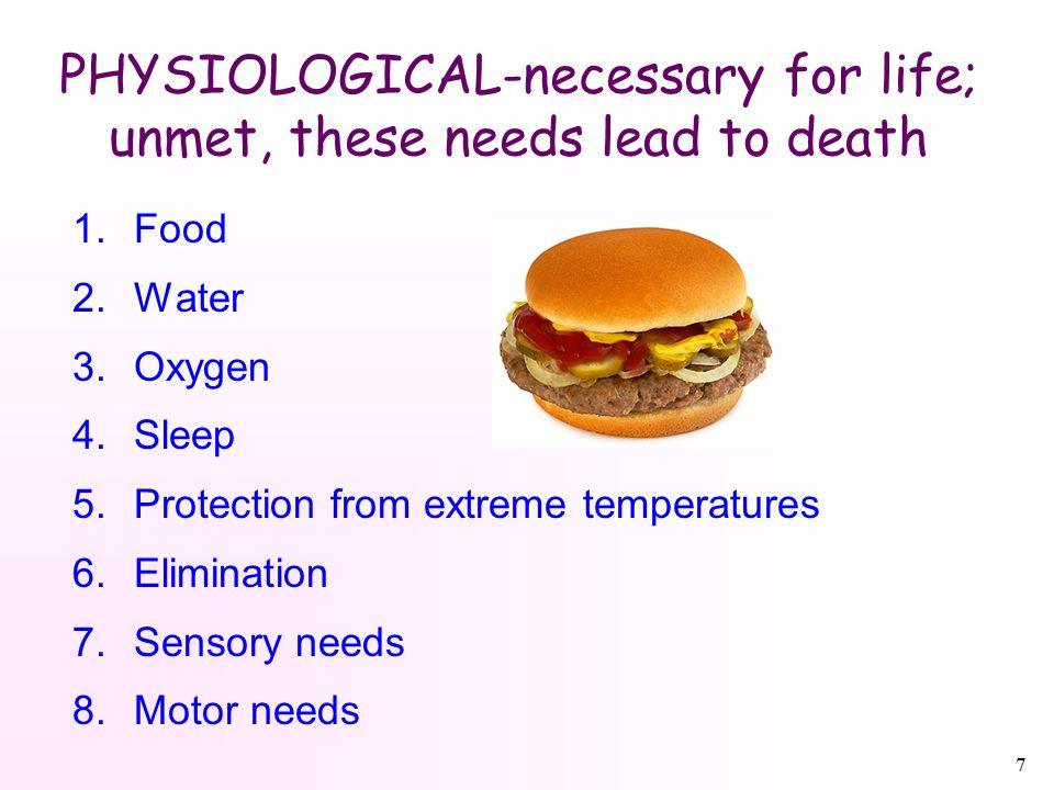 7 PHYSIOLOGICAL-necessary for life; unmet, these needs lead to death 1.Food 2.Water 3.Oxygen 4.Sleep 5.Protection from extreme temperatures 6.Elimination 7.Sensory needs 8.Motor needs