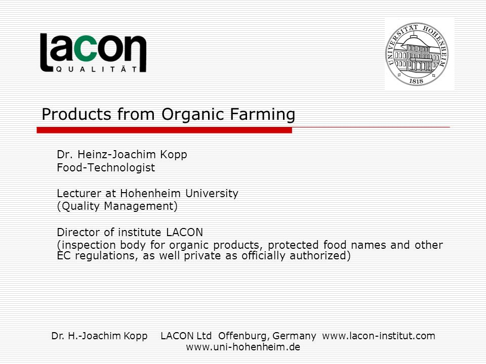 Dr H Joachim Kopp Lacon Ltd Offenburg Germany Products From