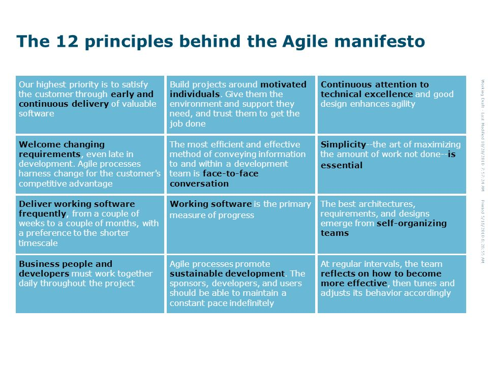 Working Draft - Last Modified 10/20/2010 7:57:24 AM Printed 5/18/2010 8:28:55 AM The 12 principles behind the Agile manifesto Our highest priority is to satisfy the customer through early and continuous delivery of valuable software Build projects around motivated individuals.