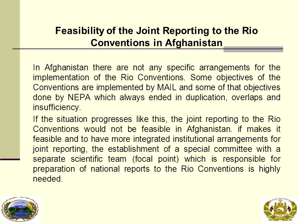 Feasibility of the Joint Reporting to the Rio Conventions in Afghanistan In Afghanistan there are not any specific arrangements for the implementation of the Rio Conventions.