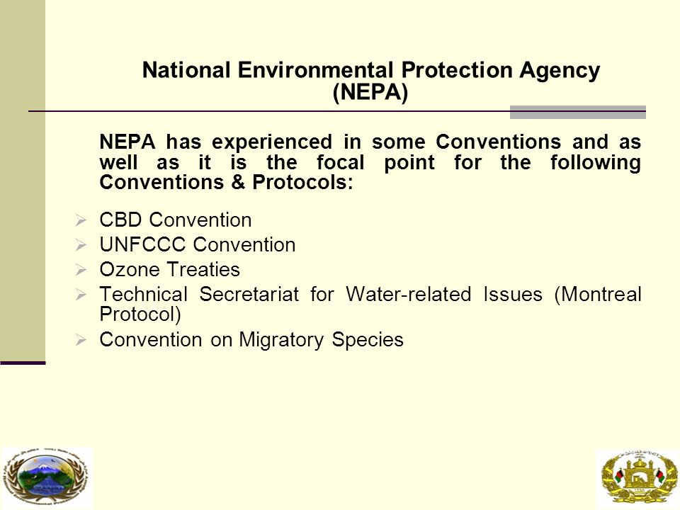 National Environmental Protection Agency (NEPA) NEPA has experienced in some Conventions and as well as it is the focal point for the following Conventions & Protocols:  CBD Convention  UNFCCC Convention  Ozone Treaties  Technical Secretariat for Water-related Issues (Montreal Protocol)  Convention on Migratory Species