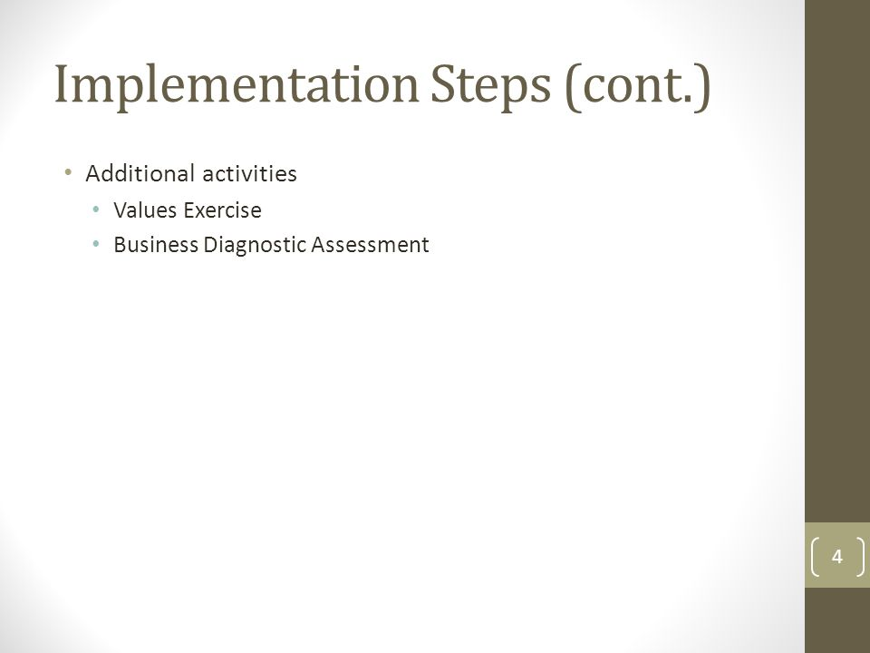 Additional activities Values Exercise Business Diagnostic Assessment Implementation Steps (cont.) 4