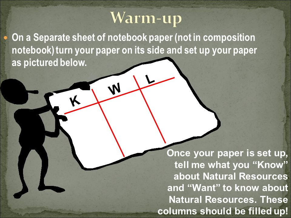 On a Separate sheet of notebook paper (not in composition notebook) turn your paper on its side and set up your paper as pictured below.