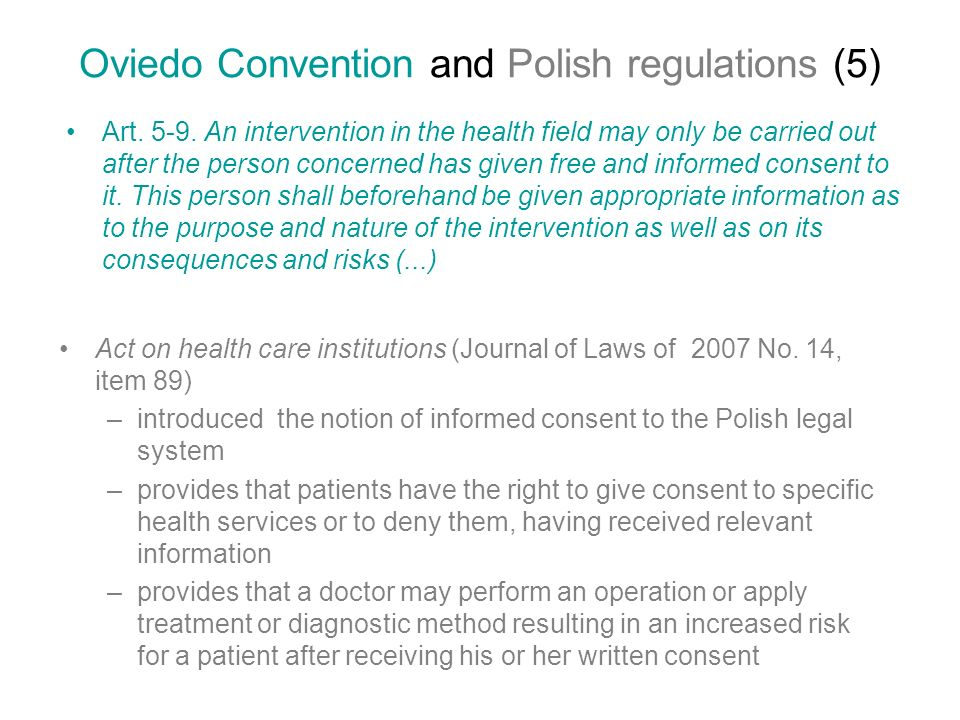 Oviedo Convention and Polish regulations (5) Art