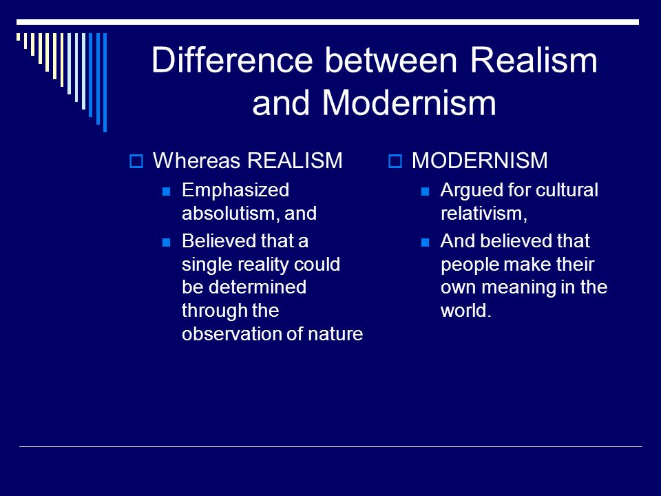 difference between modernism and realism