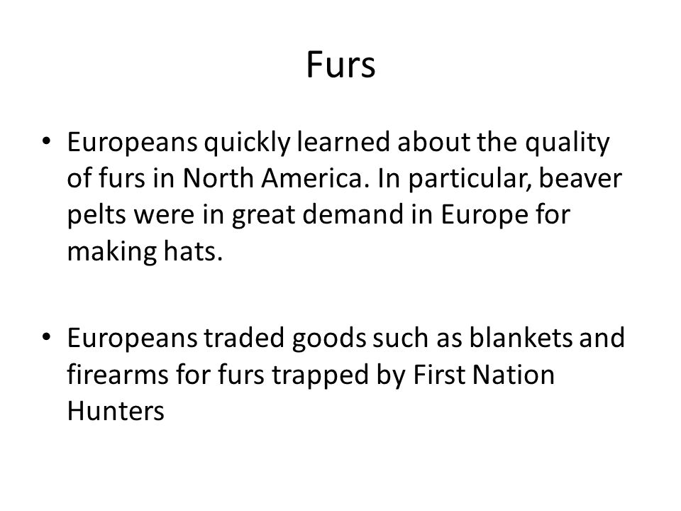 Furs Europeans quickly learned about the quality of furs in North America.