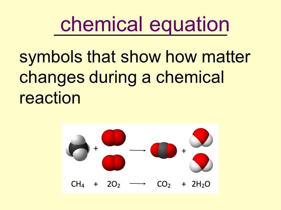 __________________ symbols that show how matter changes during a chemical reaction chemical equation