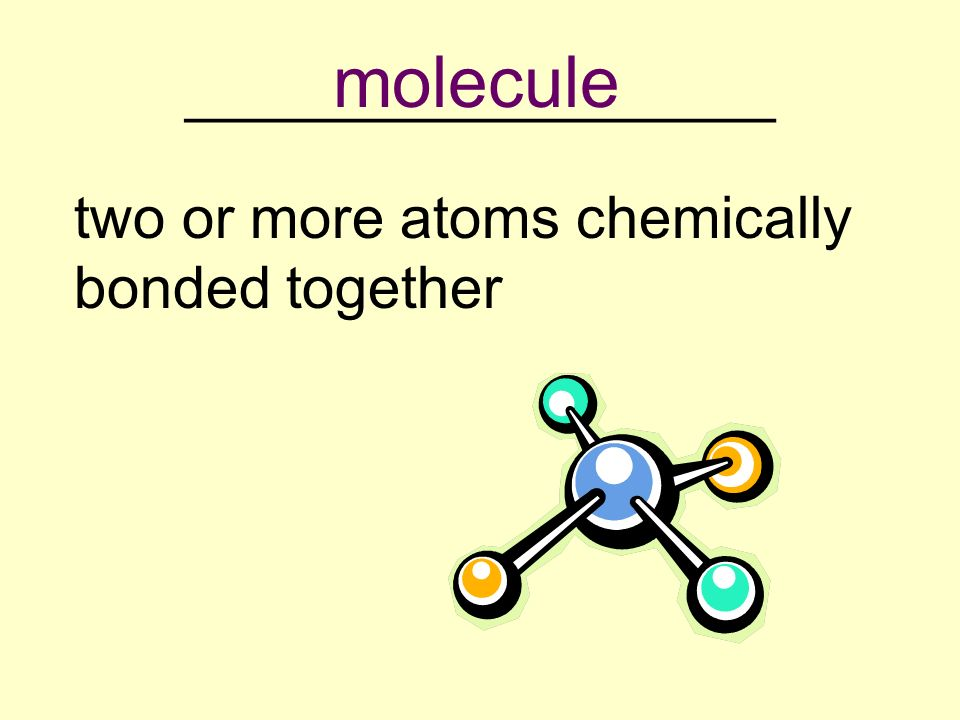 __________________ two or more atoms chemically bonded together molecule