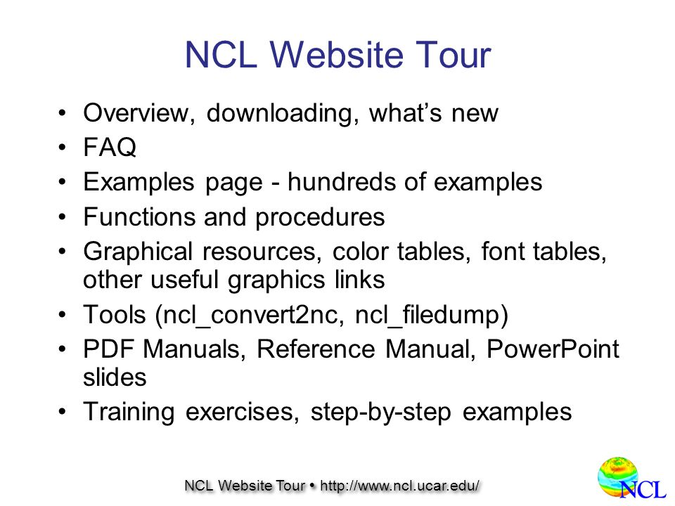NCL Website Tour NCL Website Tour  NCL Website Tour