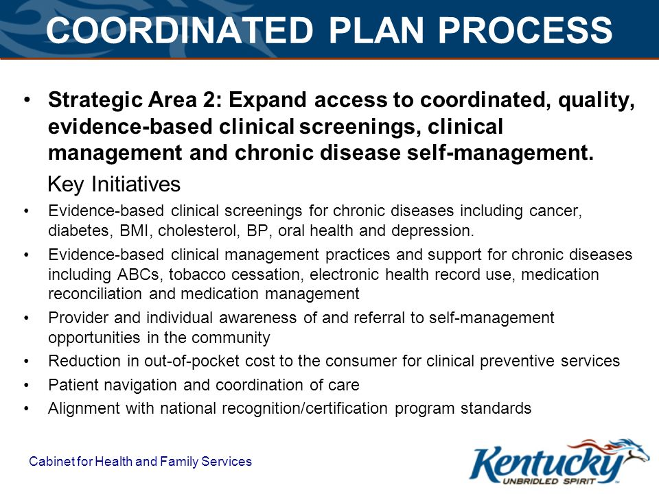 COORDINATED PLAN PROCESS Strategic Area 2: Expand access to coordinated, quality, evidence-based clinical screenings, clinical management and chronic disease self-management.