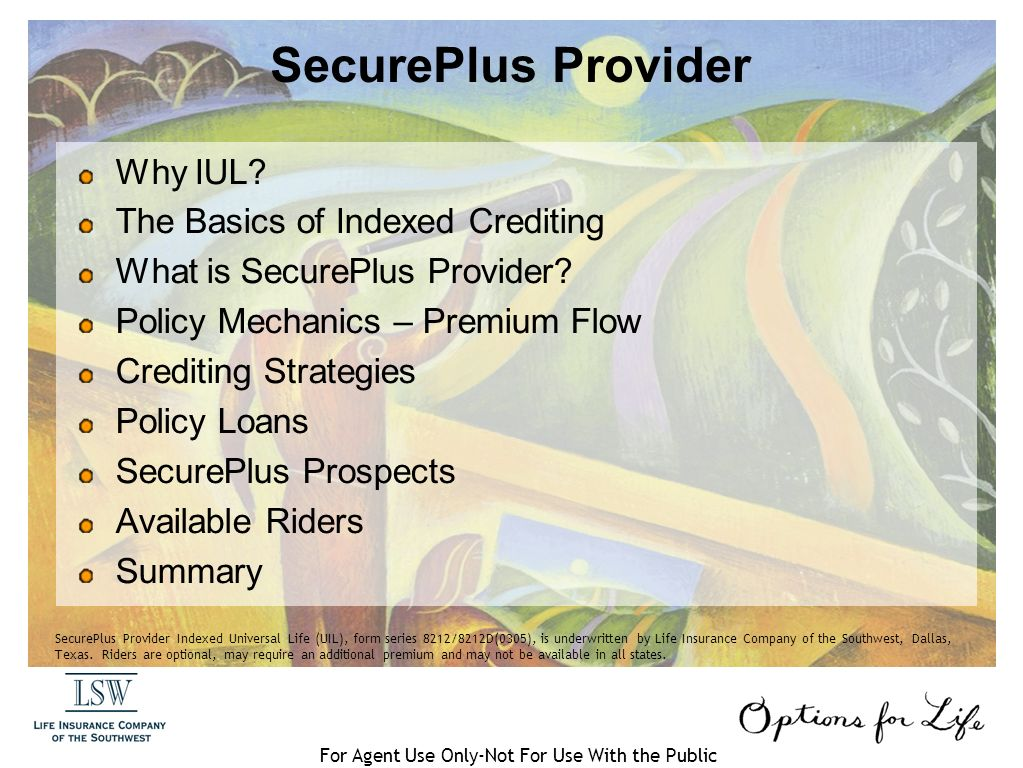 SecurePlus Provider Indexed Universal For Agent Use Only