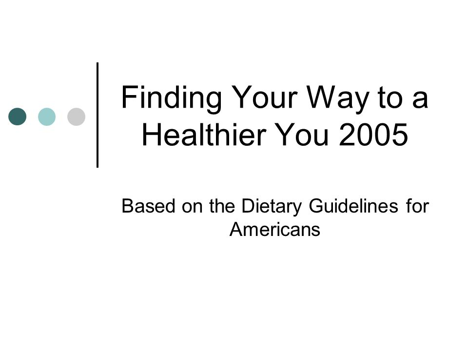Finding Your Way to a Healthier You 2005 Based on the Dietary Guidelines for Americans