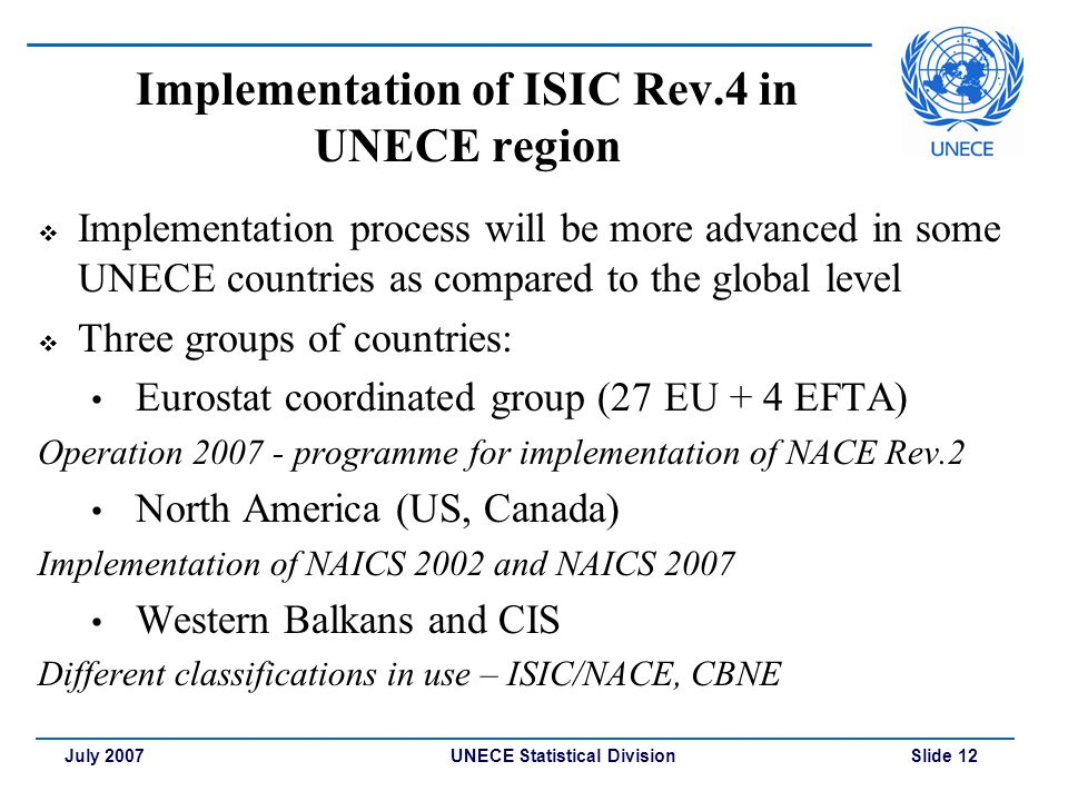 UNECE Statistical Division Slide 12July 2007 Implementation of ISIC Rev.4 in UNECE region  Implementation process will be more advanced in some UNECE countries as compared to the global level  Three groups of countries: Eurostat coordinated group (27 EU + 4 EFTA) Operation programme for implementation of NACE Rev.2 North America (US, Canada) Implementation of NAICS 2002 and NAICS 2007 Western Balkans and CIS Different classifications in use – ISIC/NACE, CBNE