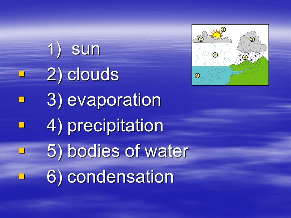 1 ) sun  2) clouds  3) evaporation  4) precipitation  5) bodies of water  6) condensation