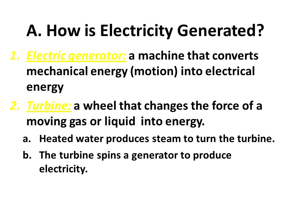 A. How is Electricity Generated.