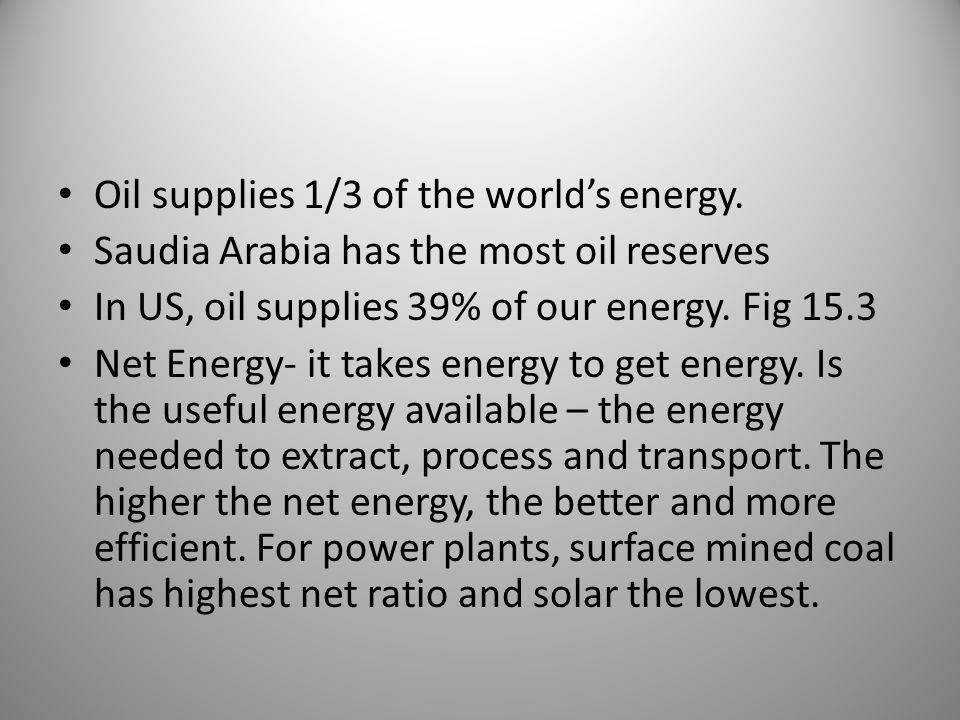 Oil supplies 1/3 of the world's energy.