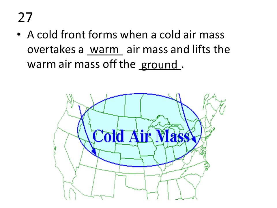 27 A cold front forms when a cold air mass overtakes a ______ air mass and lifts the warm air mass off the _______.