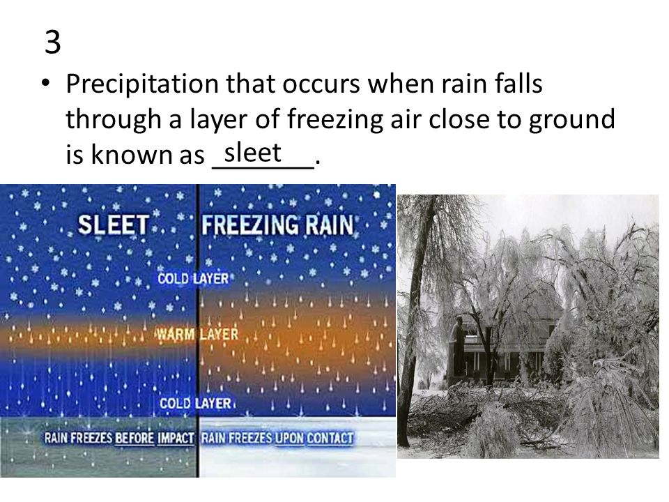3 Precipitation that occurs when rain falls through a layer of freezing air close to ground is known as _______.