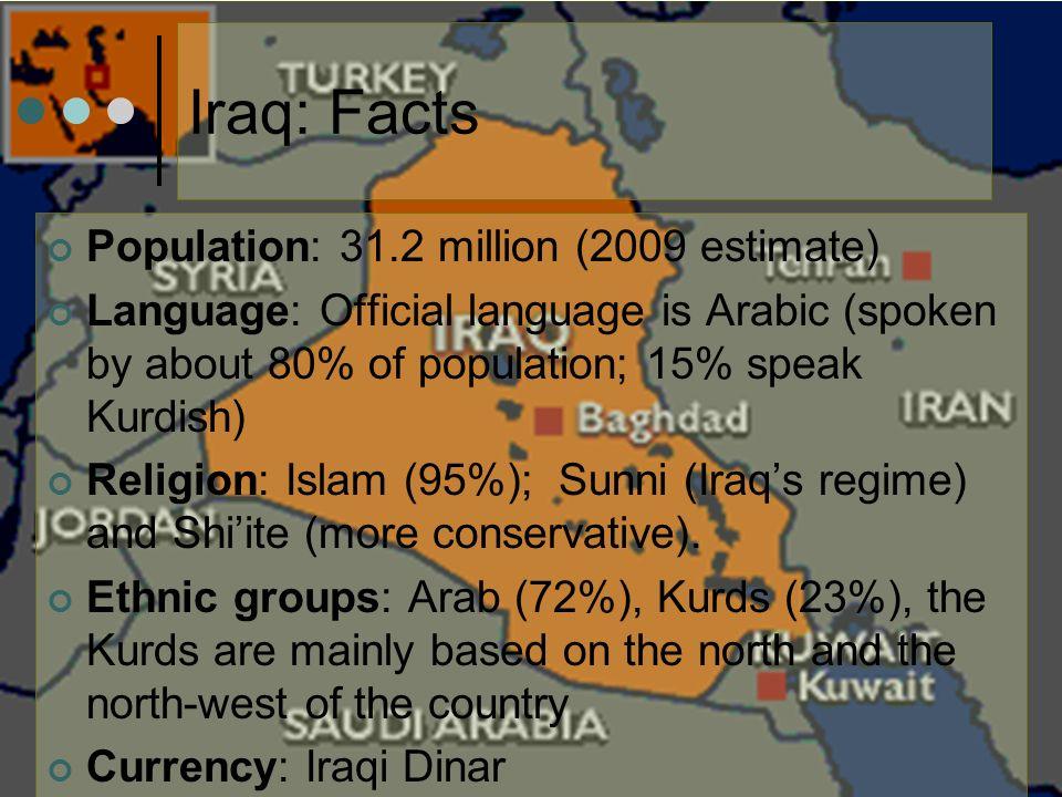 Iraq: Facts Population: 31 2 million (2009 estimate) Language