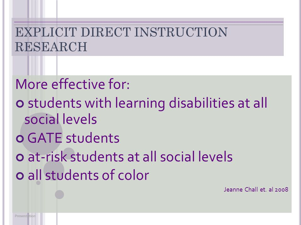 Secondary Explicit Direct Instruction And Differentiation For