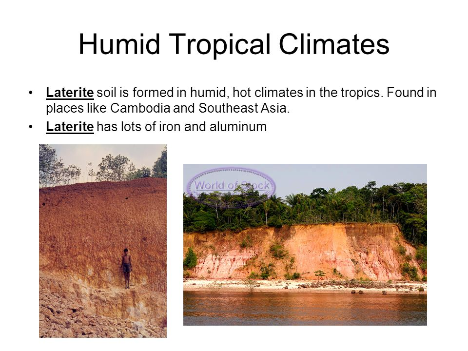 Humid Tropical Climates Laterite soil is formed in humid, hot climates in the tropics.