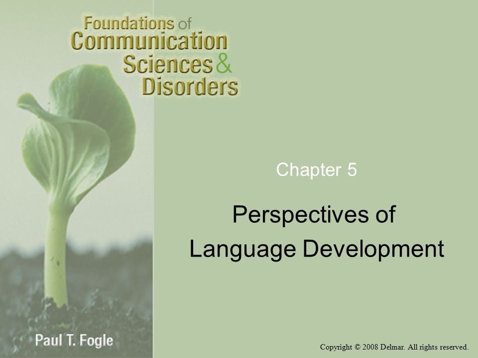 Copyright © 2008 Delmar. All rights reserved. Chapter 5 Perspectives of Language Development