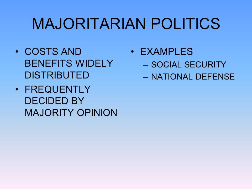 example of majoritarian politics