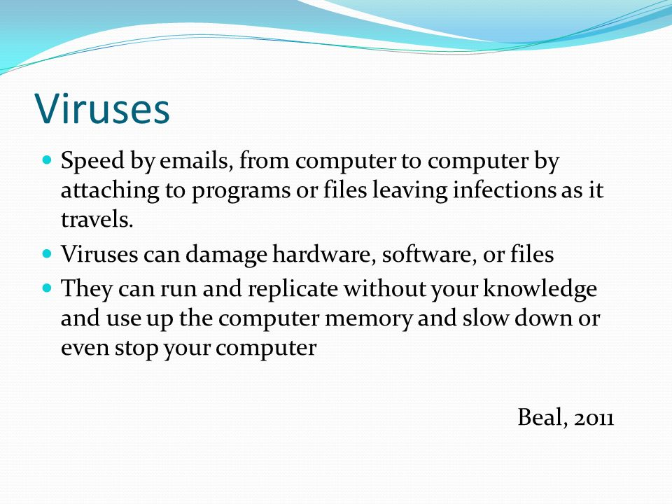Viruses Speed by  s, from computer to computer by attaching to programs or files leaving infections as it travels.