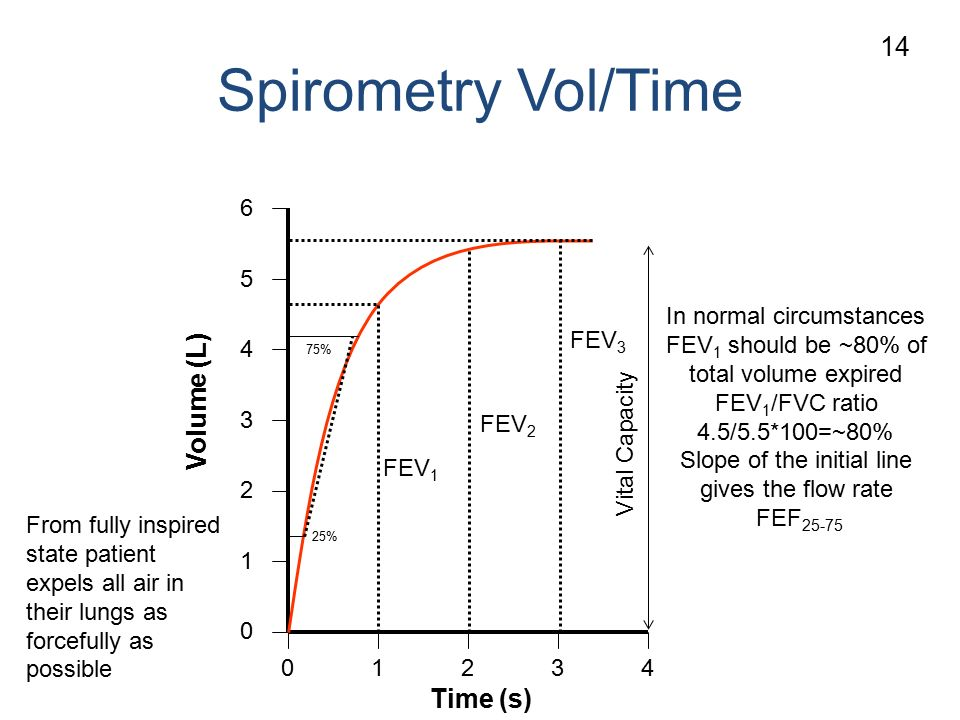 Spirometry Vol/Time Volume (L) Time (s) FEV 1 In normal circumstances FEV 1 should be ~80% of total volume expired FEV 1 /FVC ratio 4.5/5.5*100=~80% Slope of the initial line gives the flow rate FEF Vital Capacity From fully inspired state patient expels all air in their lungs as forcefully as possible FEV 2 FEV 3 25% 75% 14