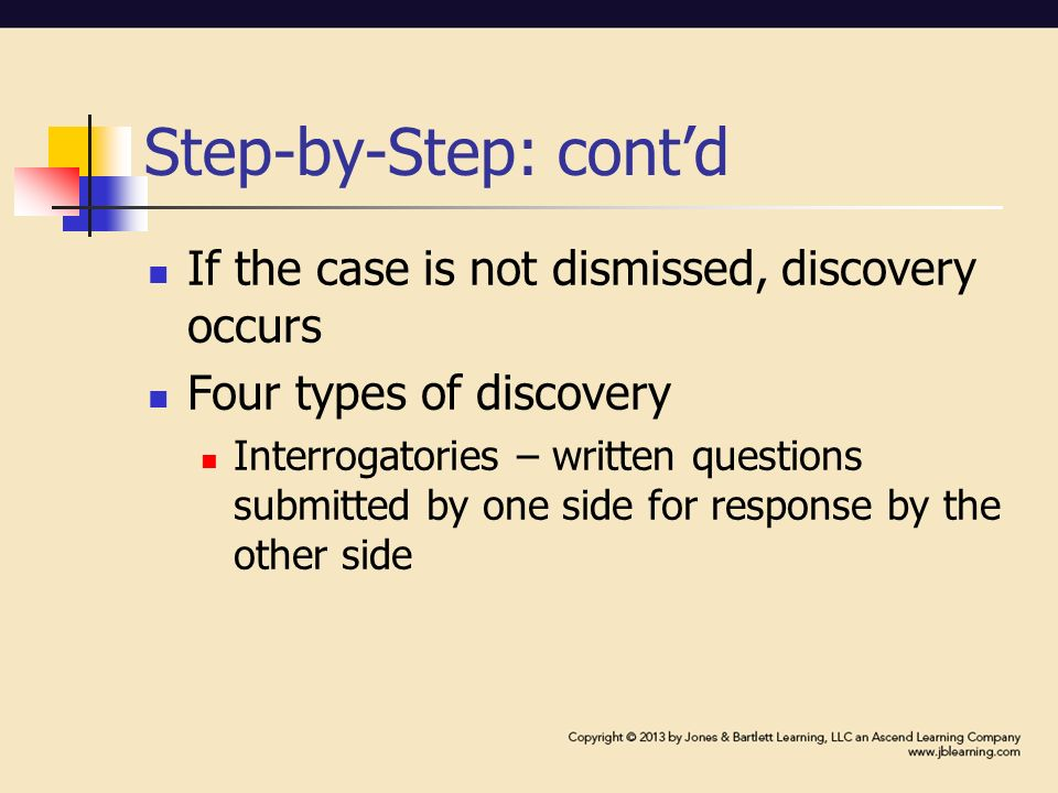 Step-by-Step: cont'd If the case is not dismissed, discovery occurs Four types of discovery Interrogatories – written questions submitted by one side for response by the other side