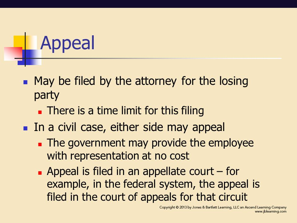 Appeal May be filed by the attorney for the losing party There is a time limit for this filing In a civil case, either side may appeal The government may provide the employee with representation at no cost Appeal is filed in an appellate court – for example, in the federal system, the appeal is filed in the court of appeals for that circuit